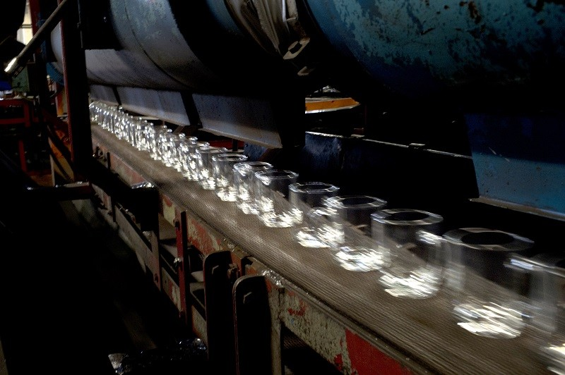 Glassware on a production line