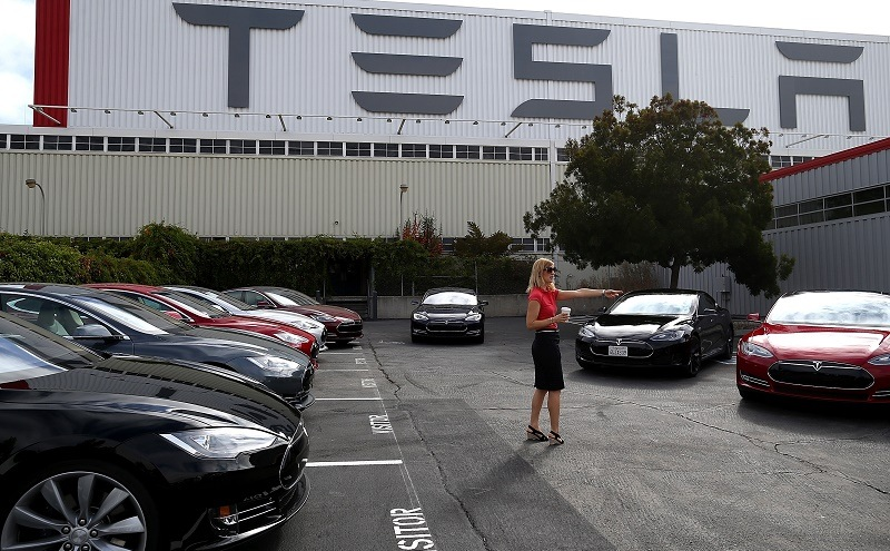 A scene from the Tesla Factory in Fremont