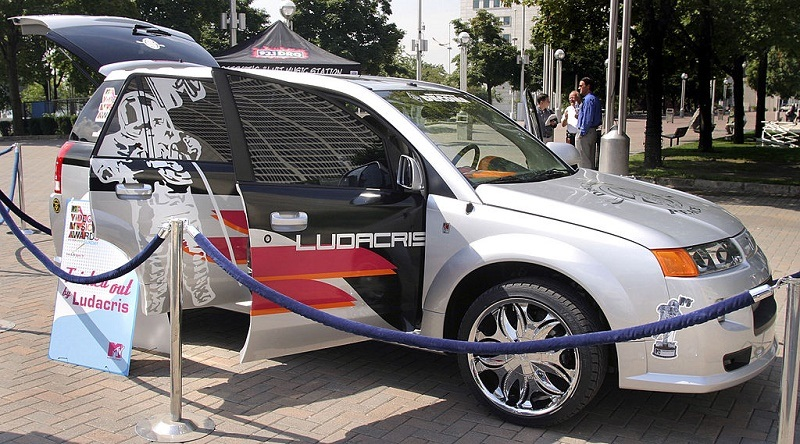 DETROIT, MI - AUGUST 16: A tricked out General Motors Saturn vehicle designed by singer Ludacris sits on display August 16, 2004 in downtown Detroit, Michigan. MTV kicked off its Video Music Awards Road Trip in Detroit with a display of seven tricked out cars designed by celebrities Usher, Ludacris, Xzibit, G Unit, Chingy, Good Charlotte and Bam Margera. (Photo by Bill Pugliano/Getty Images)