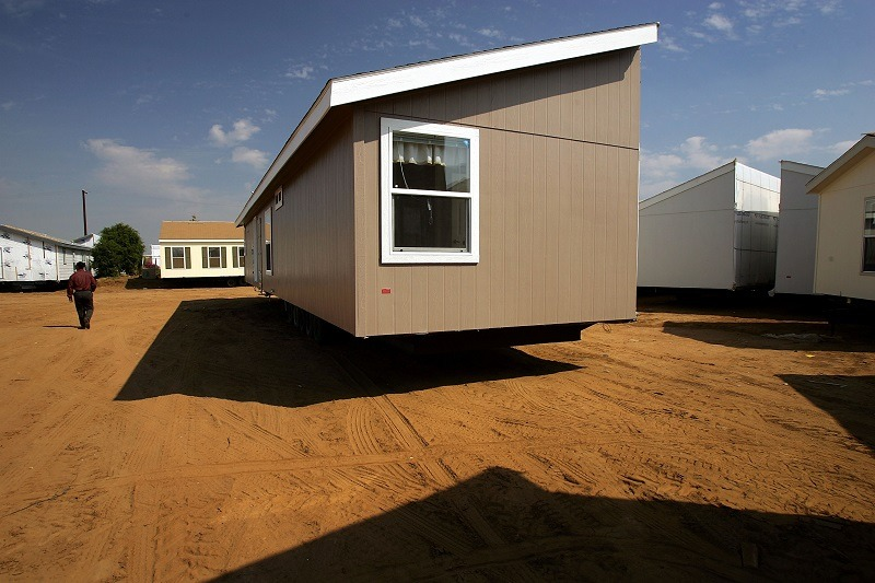A manufactured home awaiting transport