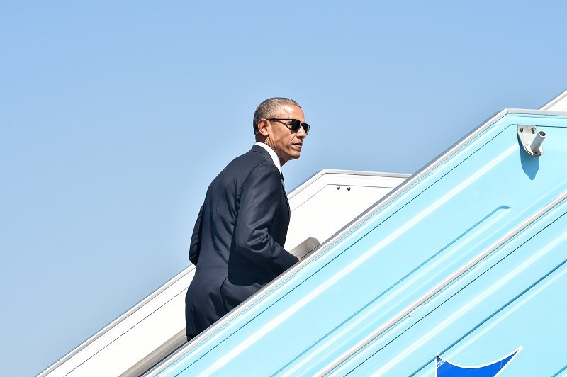 US President Barack Obama boards Air Force One