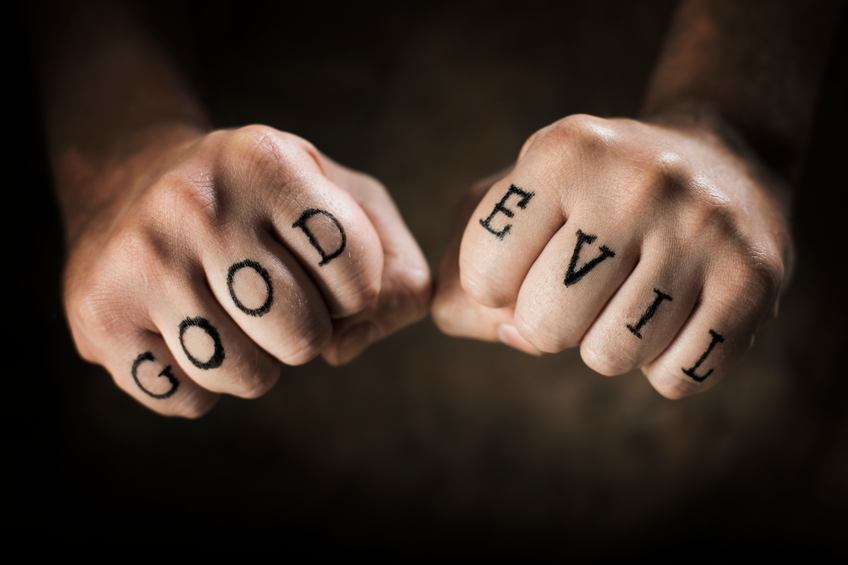 """Good"" and ""Evil"" fake tattoos on hands"
