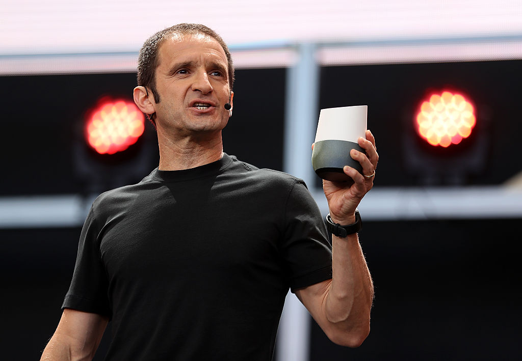 Google Vice President of Product Management Mario Queiroz shows the new Google Home