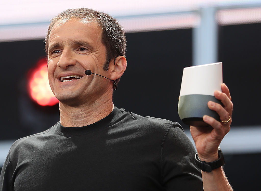 Mario Queiroz shows the new Google Home during Google I/O 2016