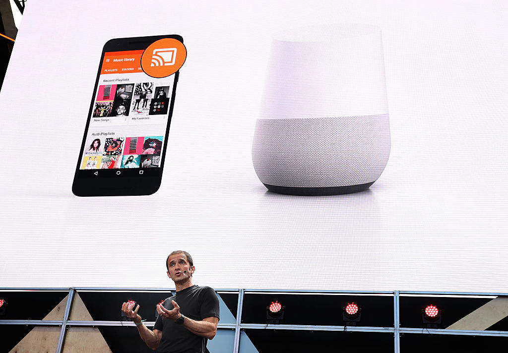 Mario Queiroz shows the new Google Home