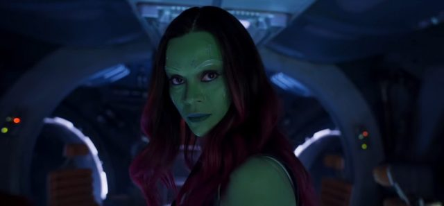 Close up of Gamora in Guardians of the Galaxy Vol. 2.