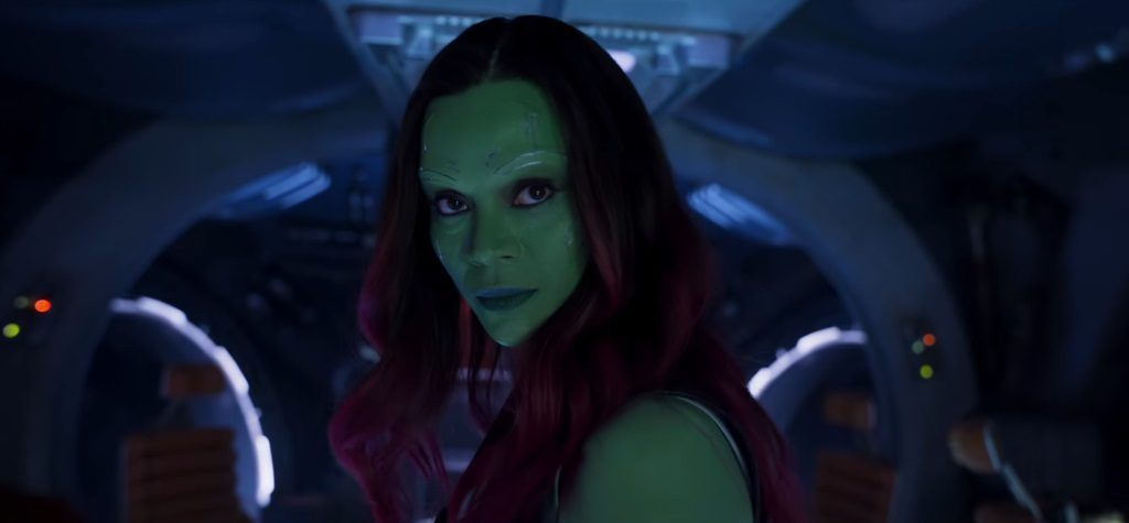 Close up of Gamora in Guardians of the Galaxy Vol. 2