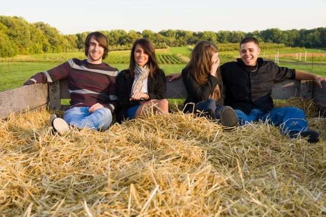 Young couples on a hayride