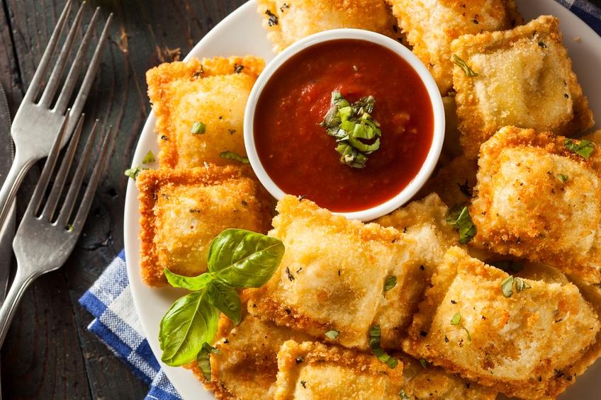Homemade fried ravioli with marinara sauce