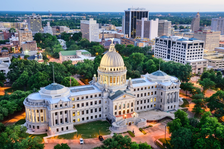aireal view of Jackson, Mississippi