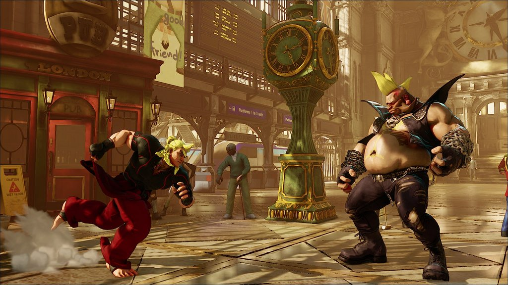 A video game still of two men getting ready to fight in a train station