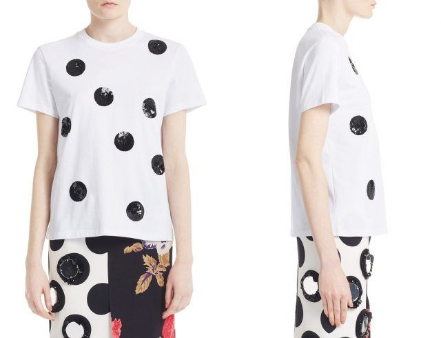 MSGM Sequin Polka Dot Cotton Tee