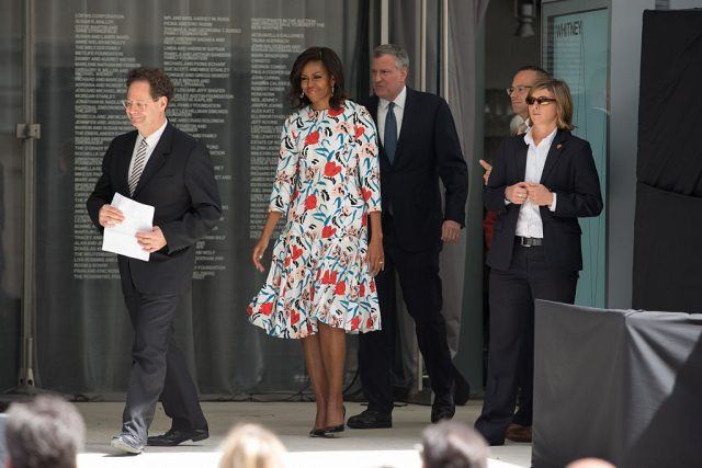 First Lady Michelle Obama and Mayor Bill de Blasio of New York City