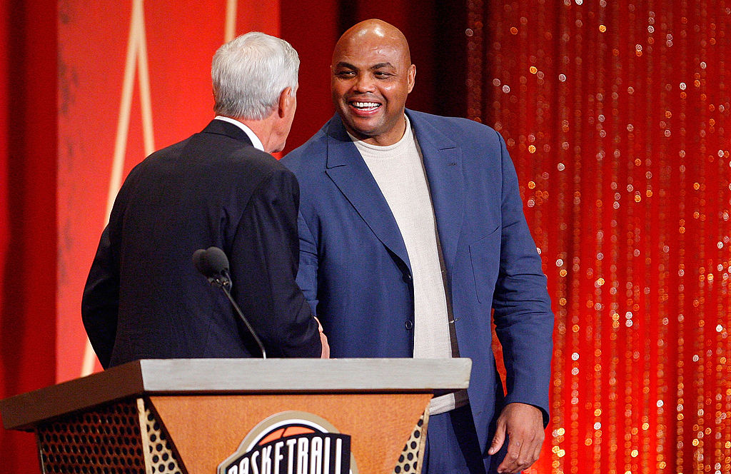 Charles Barkley presents Coach Jerry Sloan to the Naismith Memorial Basketball Hall of Fame