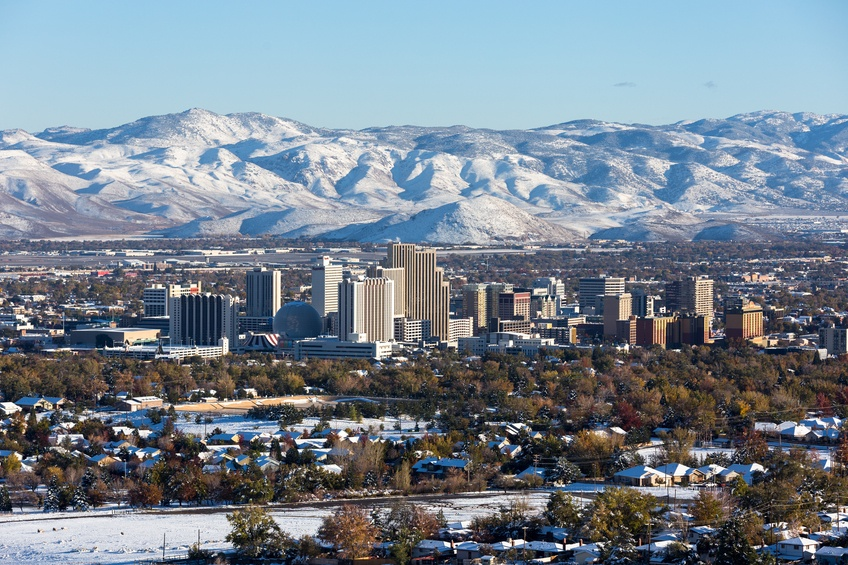Reno, Nevada downtown during winter with snow on the ground