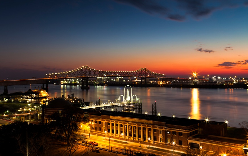 A view of Baton Rouge and the Mississippi River at night.