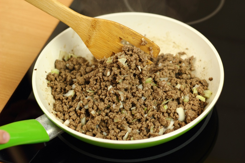 Cooking ground beef for casserole in a skillet