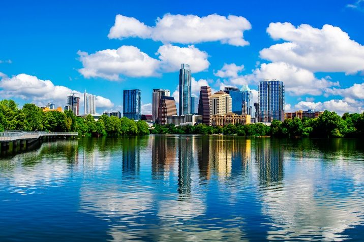 Austin, Texas, reflects on Lady Bird Lake
