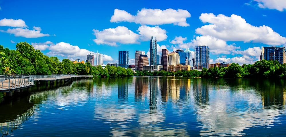 downtown Austin reflects on a lake