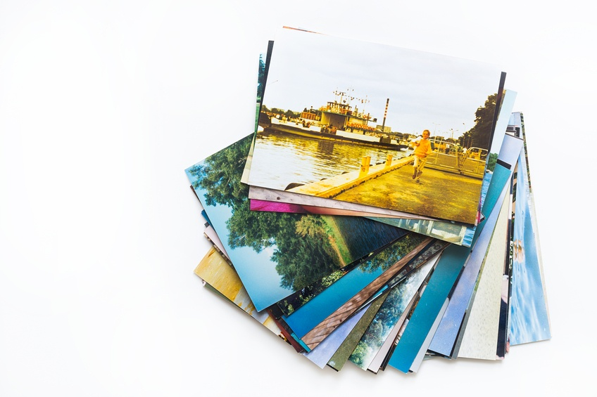 A pile of photographs