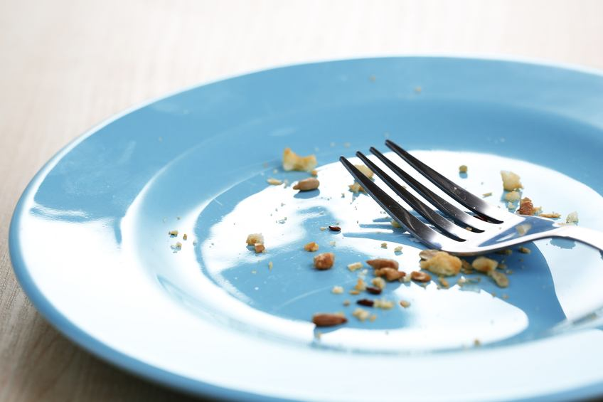 Plate with crumbs and used fork