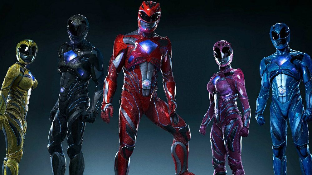 Power Rangers in uniform, standing in a line