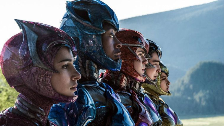 Power Rangers standing in a line while in uniform