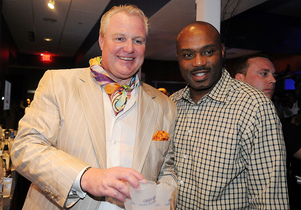 Bob Drinon, President and CEO of Premier Beverage and Retired Miami player Tim Hardaway