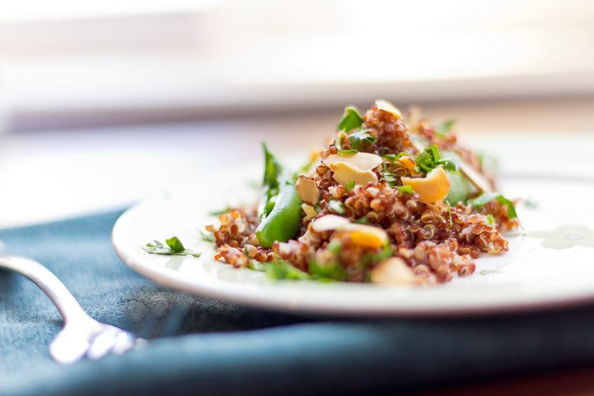 Healthy nutty red quinoa salad
