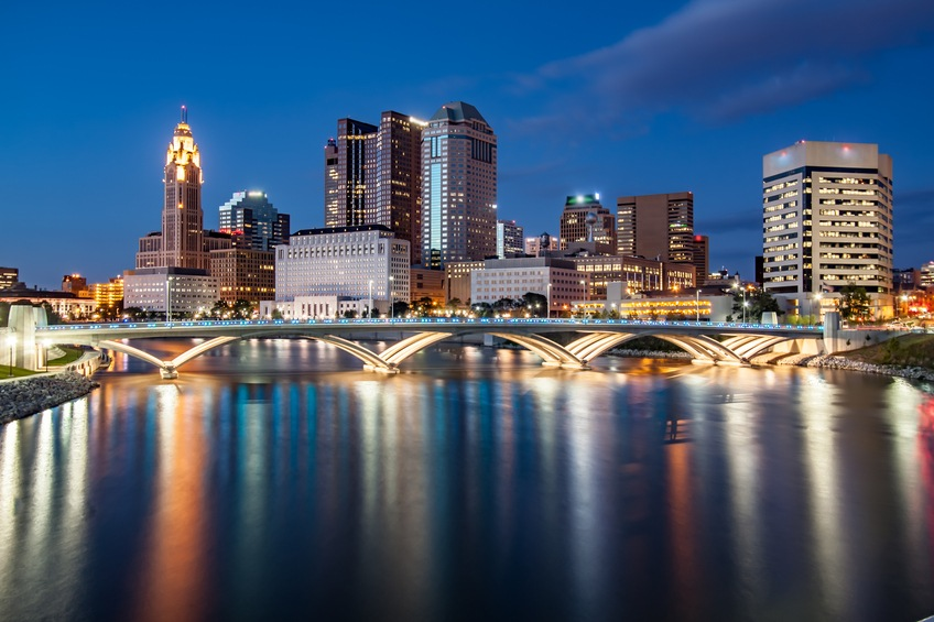 The Scioto River reflects Columbus, Ohio