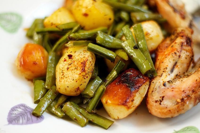 Warm healthy dish consisting of chicken