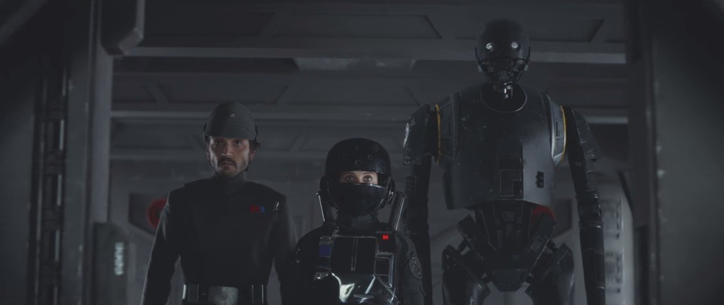 Captain Cassian Andor (Diego Luna), Jyn Erso (Felicity Jones), and K-2SO (Alan Tudyk) on the set of Rogue one