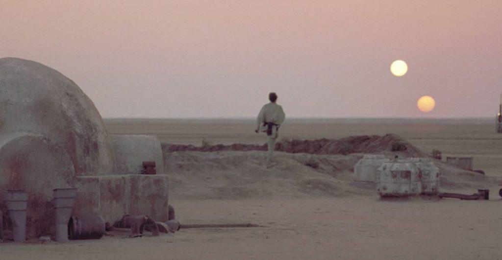 Luke Skywalker on Tatooine in Star Wars: A New Hope