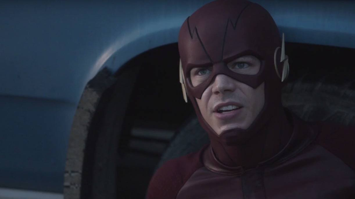 Barry Allen dons his Flash suit in a scene from The CW's The Flash