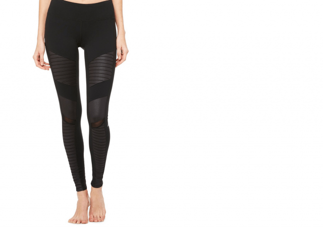 Embrace an edgier side with textured patterning paired with a monochromatic top. | Alo Yoga