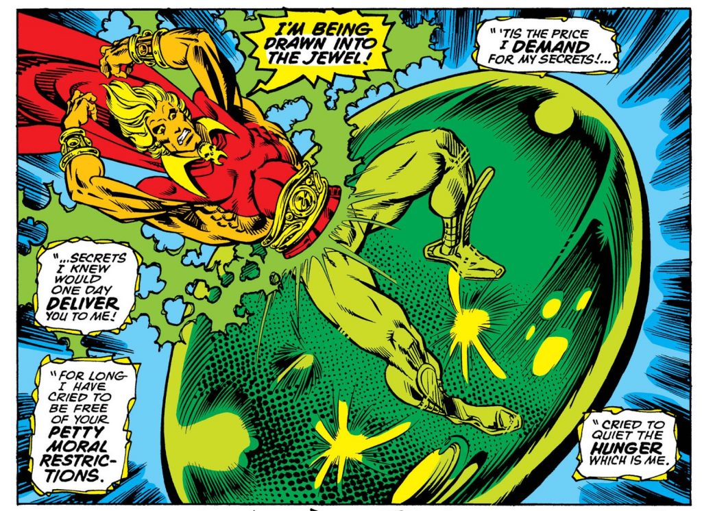Adam Warlock jumping into a giant green stone