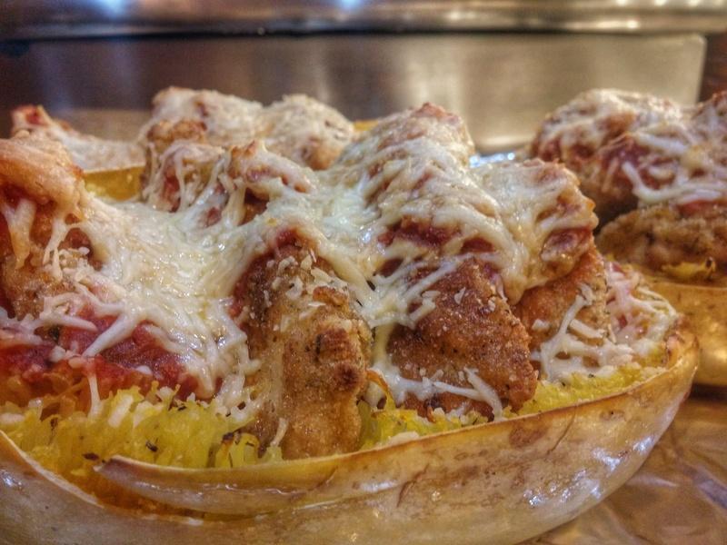 Spaghetti squash chicken Parmesan dinner