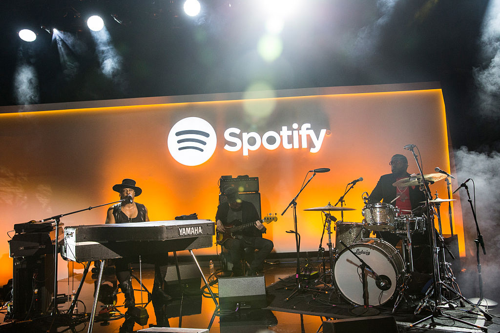 Musician D'Angelo (L) plays a private concert at a media event