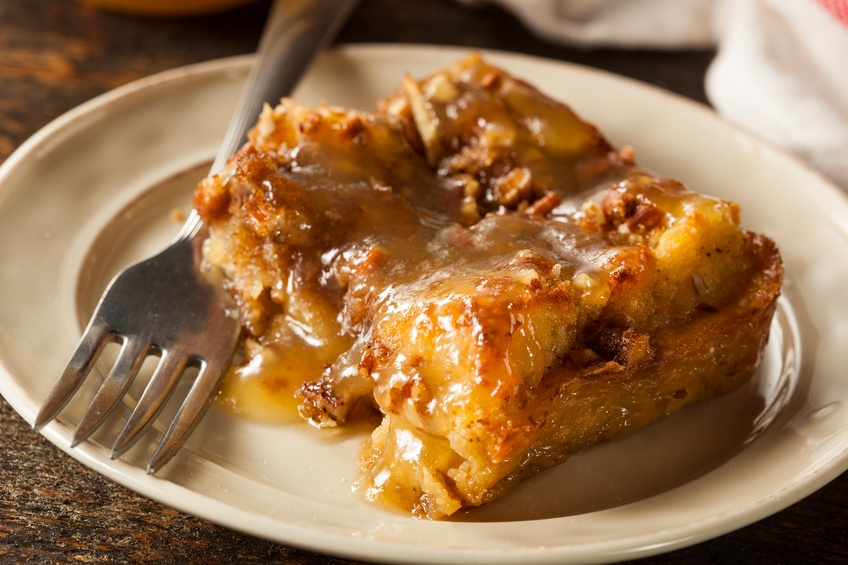 Bread Pudding Dessert with Brandy Sauce