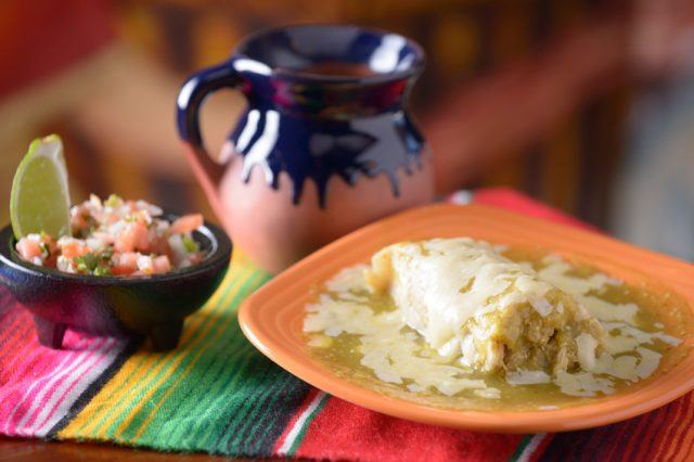verde enchilada with coffee and salsa