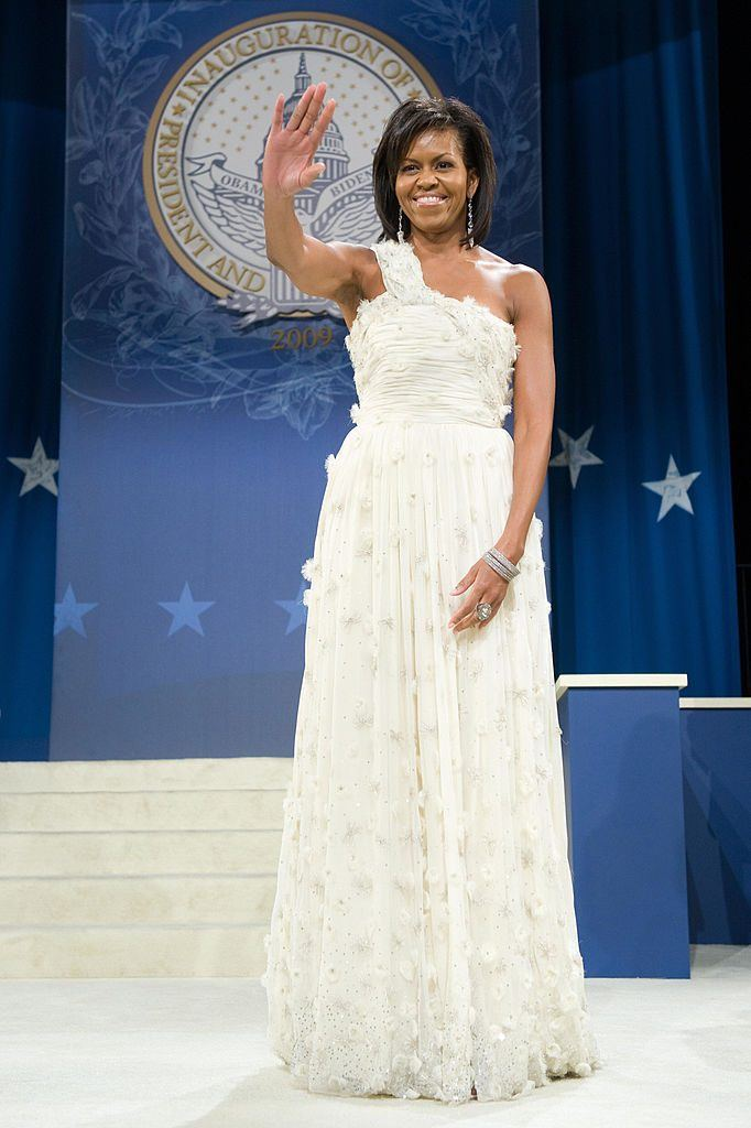 US First Lady Michelle Obama waves at the Southern Regional Inaugural Ball