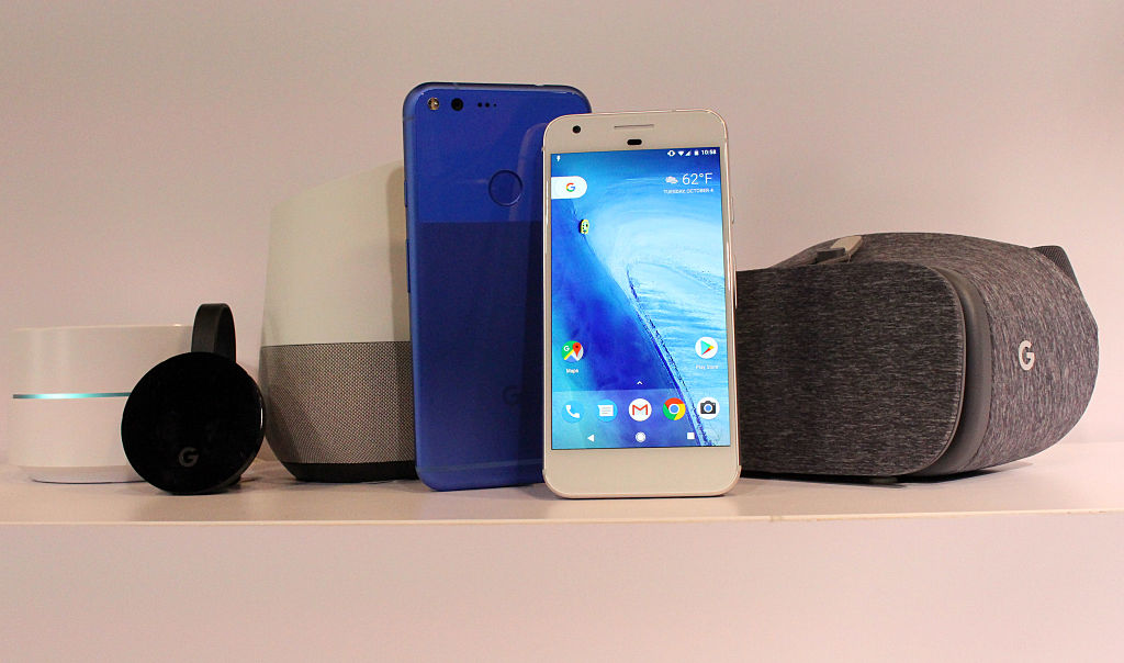 Google Chromecast, Home, and Pixel smartphone devices at a press event