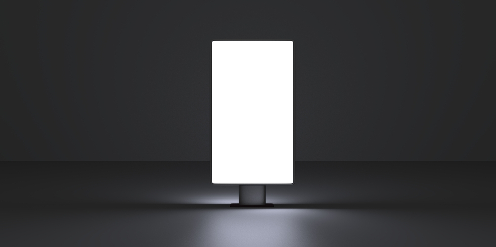 Vertical screen on dark background