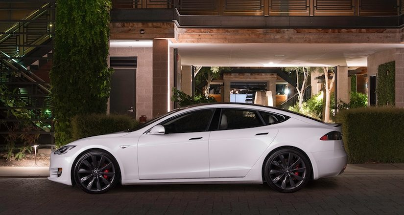 View of a 2016 Tesla Model S from the side