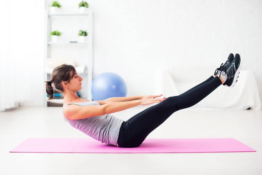 Woman doing abdominal exercise