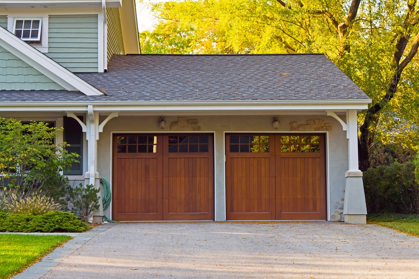 Two wooden car garage