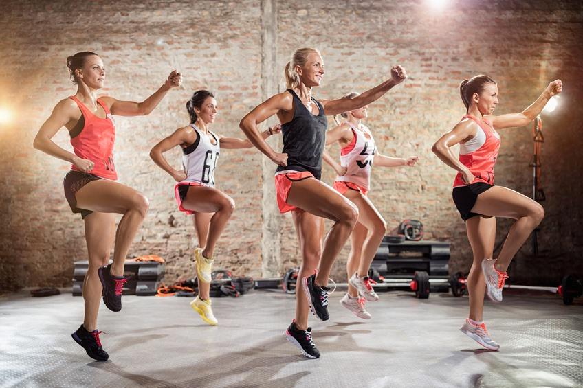 sporty women on group training