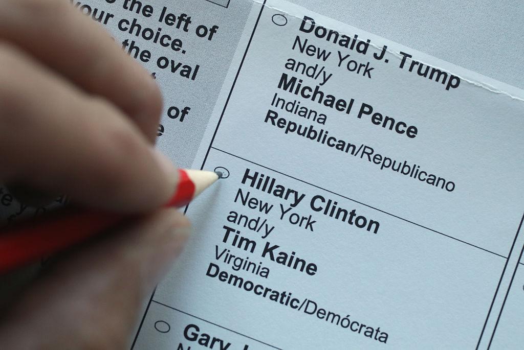 2016 presidential election ballot