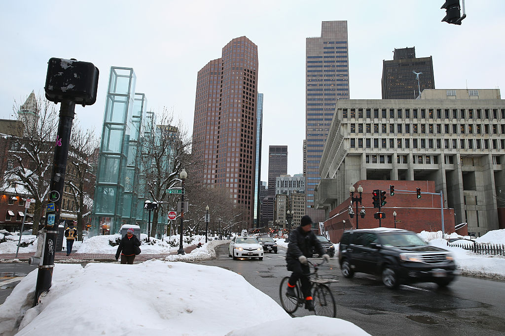 Traffic flows through downtown Boston