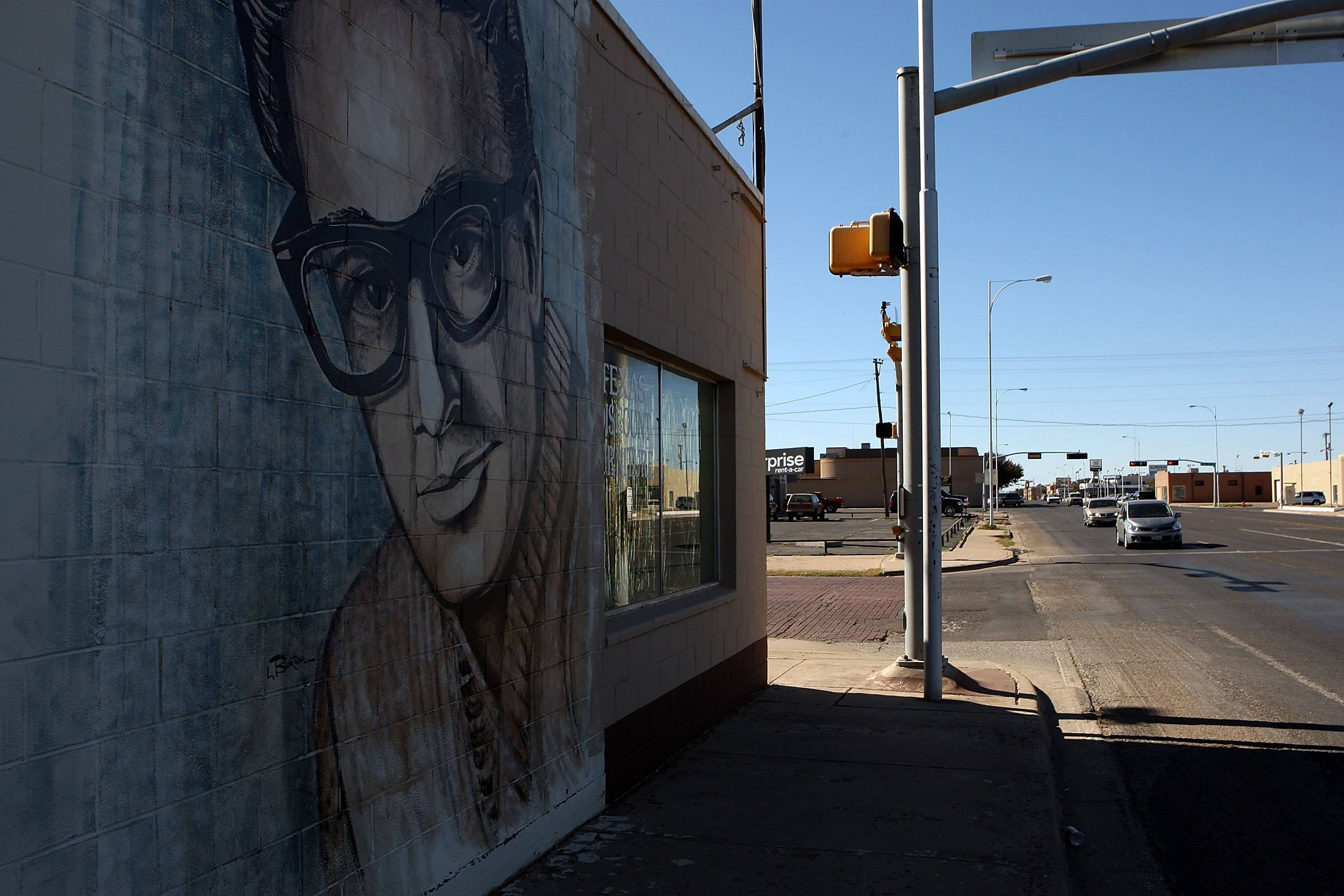 A wall painting of musician Buddy Holly in downtown Lubbock, Texas